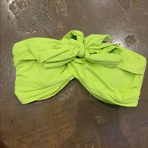 Neon green/yellow multi cross bikini top